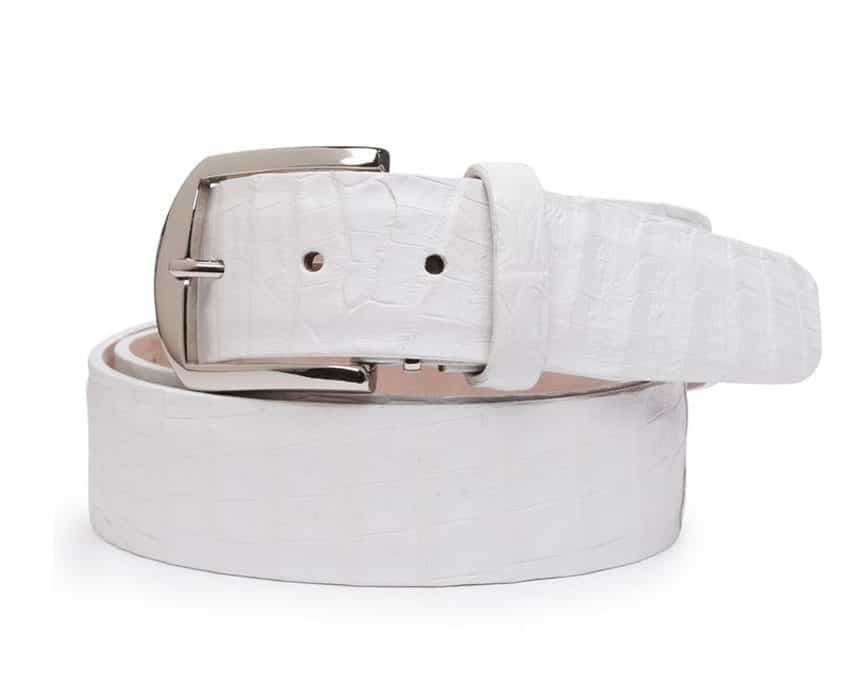 Caiman Crocodile 40mm L. E. N. Lifestyle Belt In White