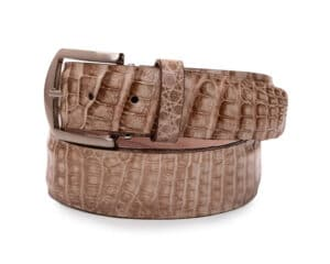 40mm Natural Caiman Crocodile Belt With No Stitch