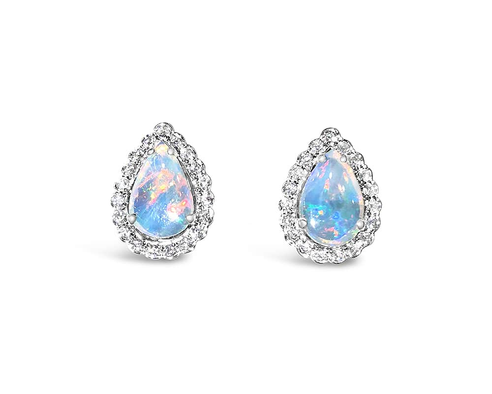 14kt White Gold Pear Halo Opal and Diamond Earrings