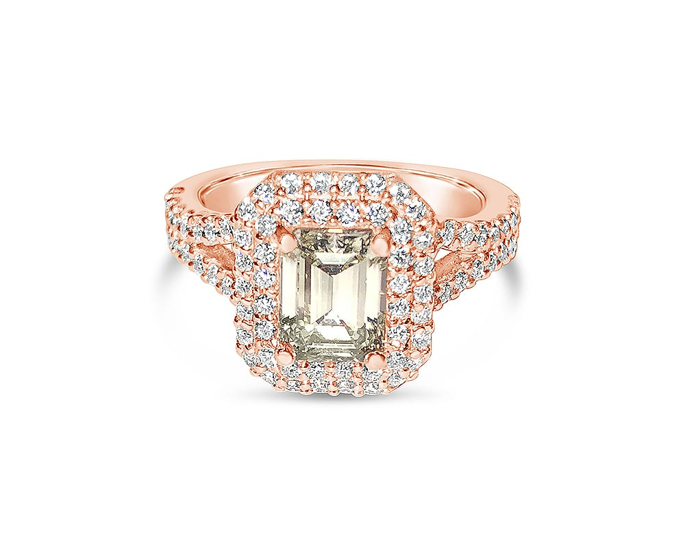 14kt Rose Gold Double Halo Engagement Ring with Emerald Cut Feature Stone