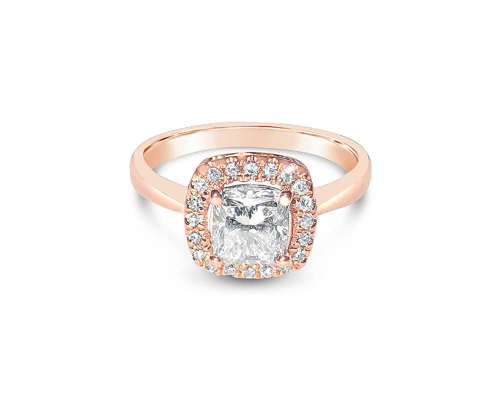 14kt Rose Gold Cushion Cut Halo Engagement Ring
