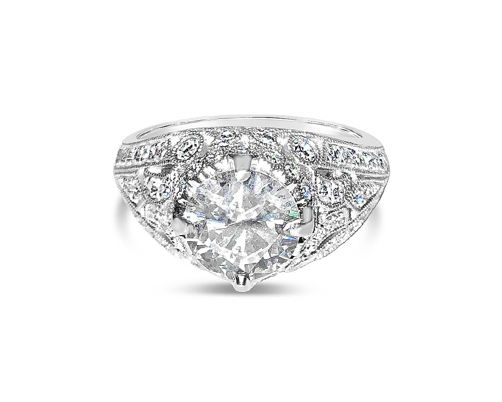 Platinum Diamond Engraved Engagement Ring
