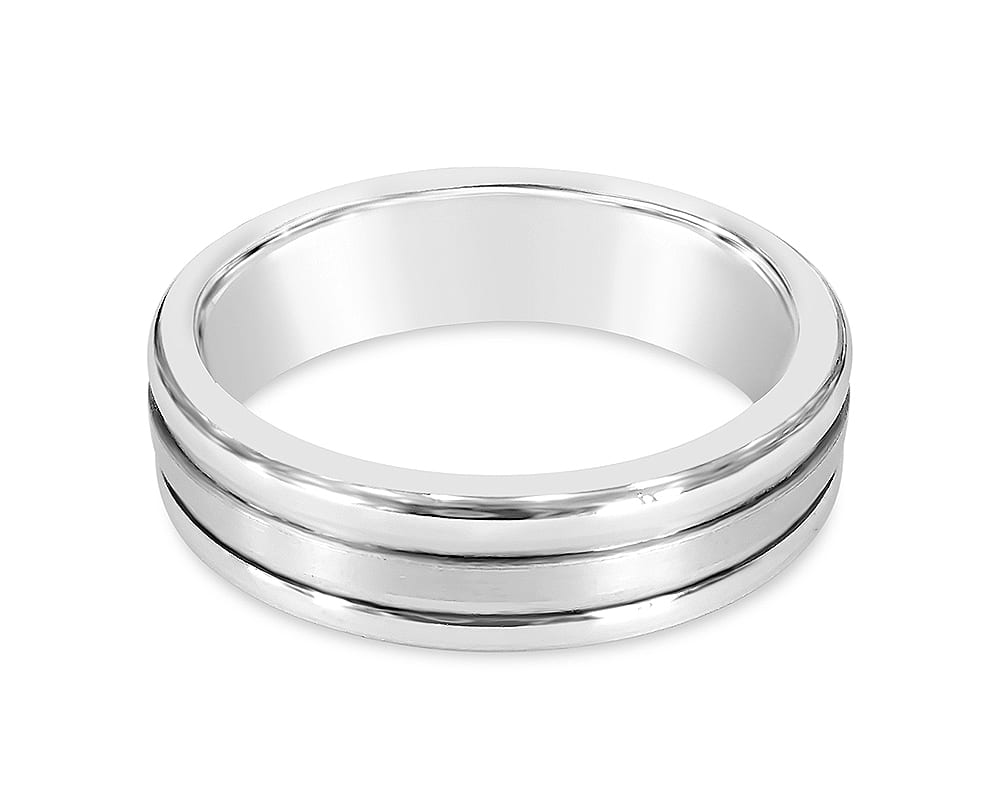 White Tungsten/White Gold Satin 6mm Step Edge Wedding Band