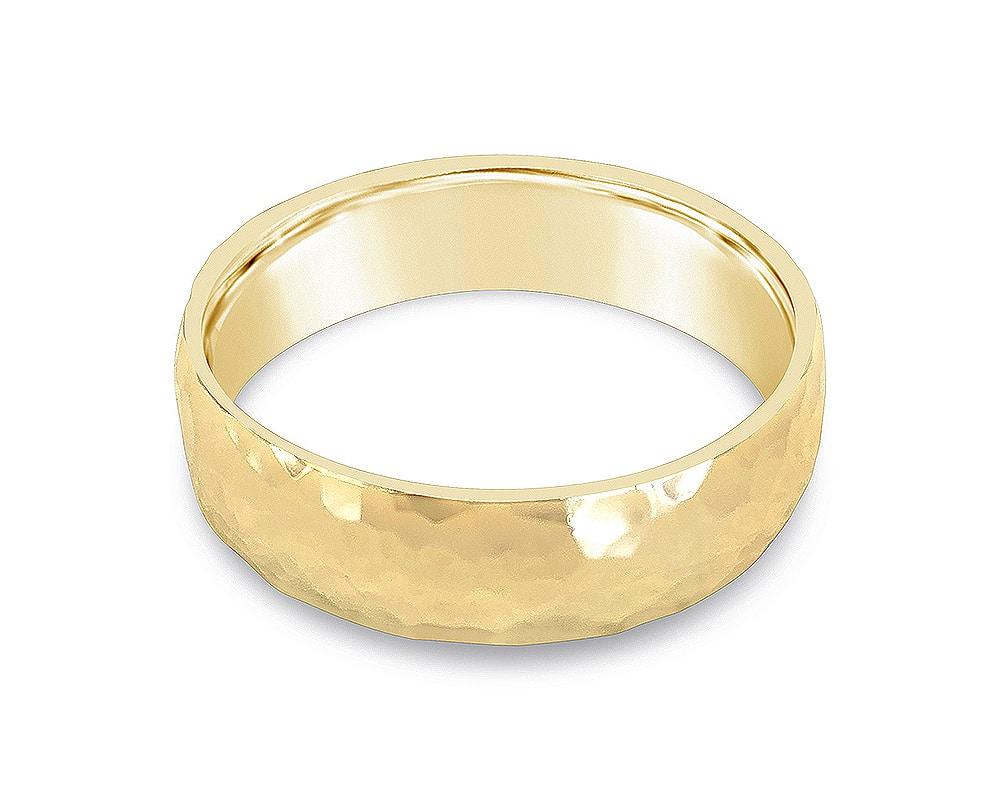 14kt Yellow Gold Polish Hammered Wedding Band