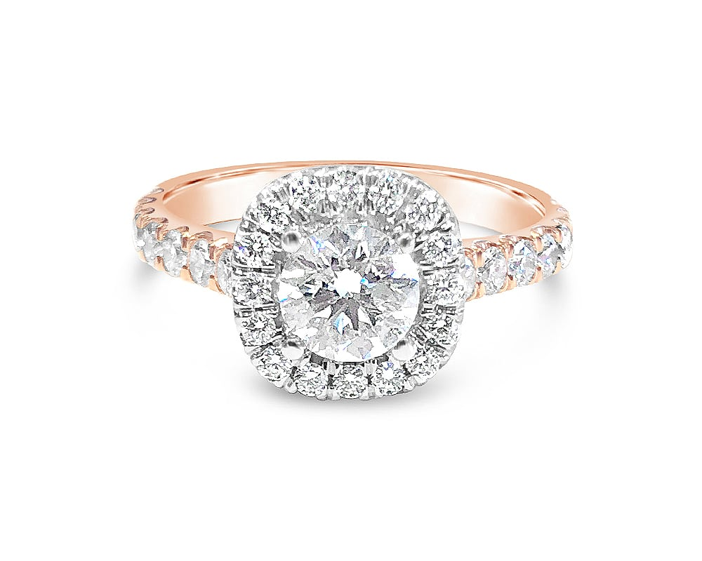 18kt Rose and White Gold Forevermark Petite Halo Engagement Ring