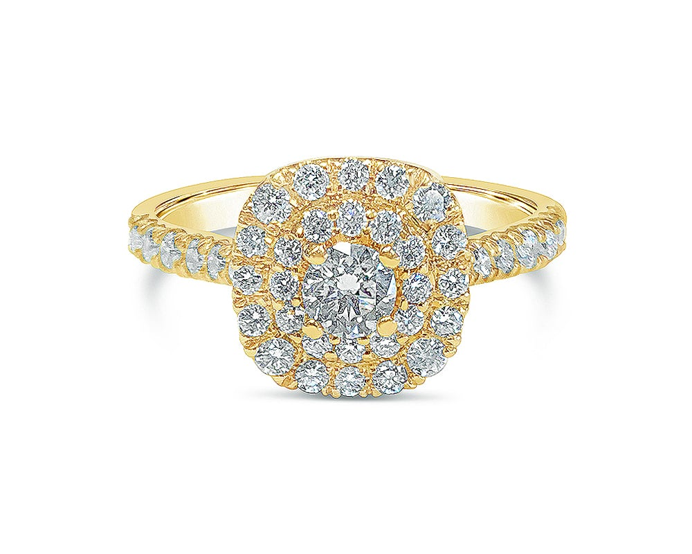 14kt Yellow Gold Double Halo Engagement Ring with Round Feature Stone