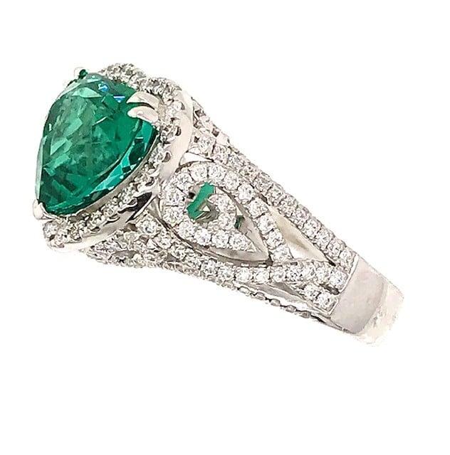 Heart Shaped Green Tourmaline and Diamond Ring by Simon G