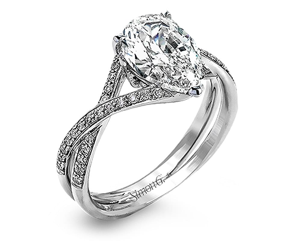 18kt White Gold & Diamond Semi-Mounting with Round Diamonds by Simon G