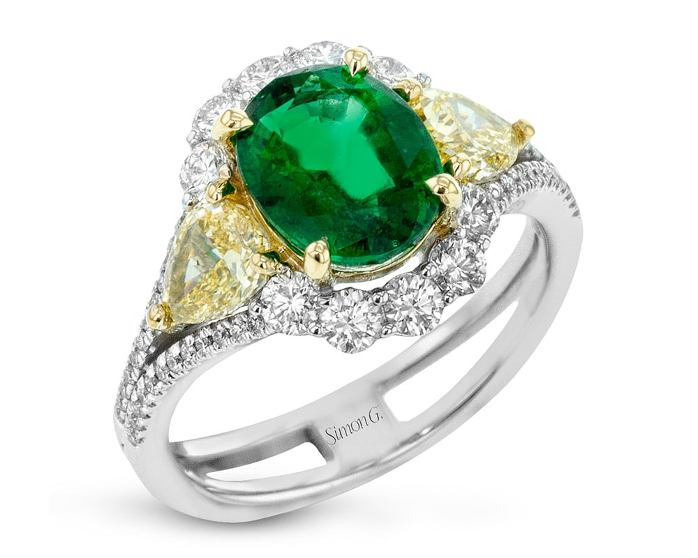 Ladies Two-Tone 18kt Oval Halo Fashion Ring with Emerald Center Stone