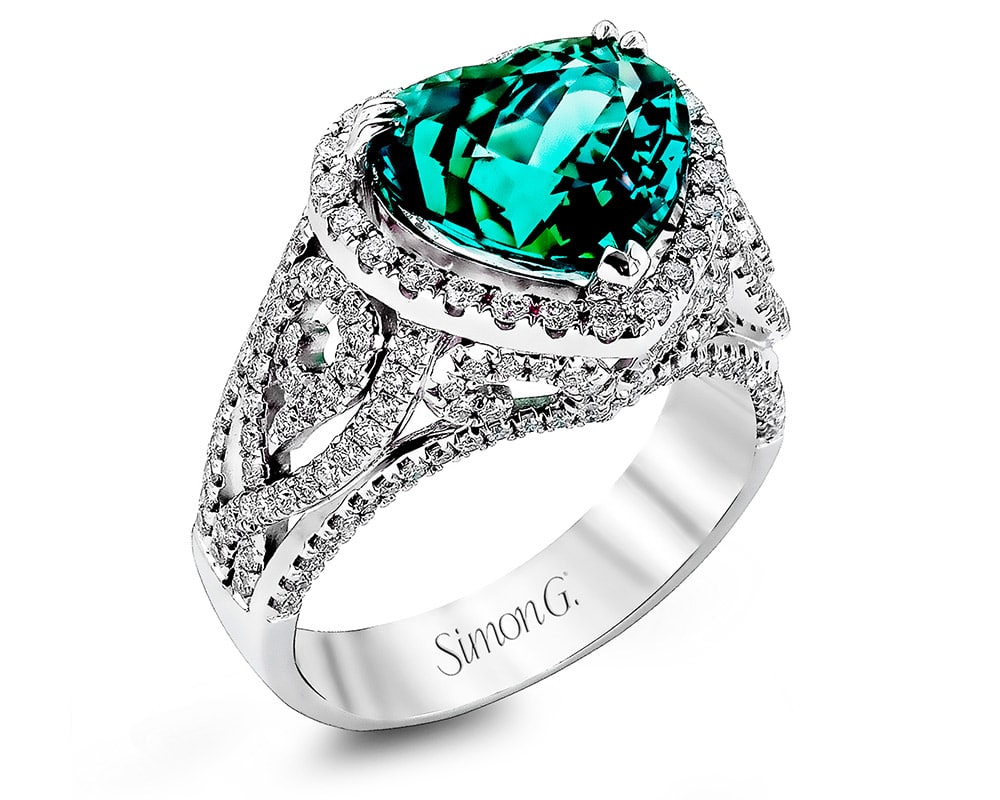 Ladies 18kt White Gold Heart Halo Fashion Ring with Green Tourmaline Center Stone