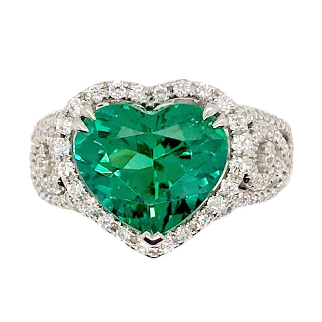 Heart Shaped Green Tourmaline and Diamond Ring by Simon G