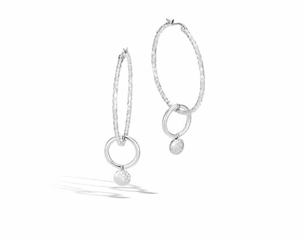 Sterling Silver Hammered Dot Interlock Medium Hoop Earrings