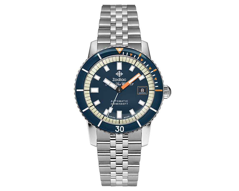 Stainless Steel Blue Index Dial Super Sea Wolf Watch