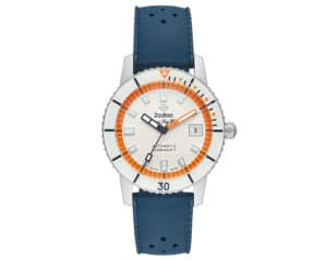 Stainless Steel White & Orange Index Dial Super Sea Wolf Zodiak