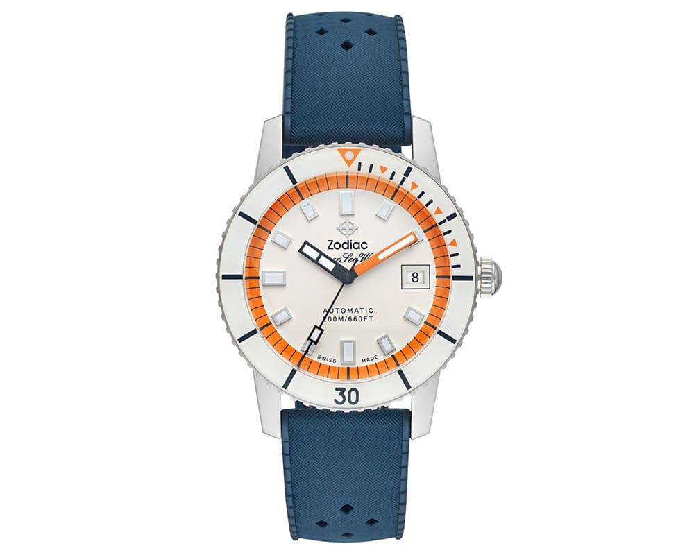 Stainless Steel White & Orange Index Dial Super Sea Wolf Zodiak
