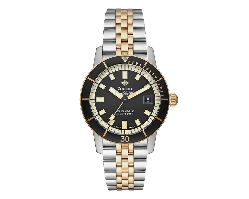 Two Tone Stainless Steel Black Index Dial Super Sea Wolf Zodiak