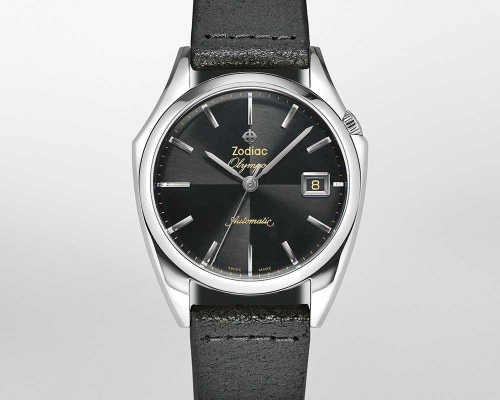 Stainless Steel Black Quarter Index Dial Olympos