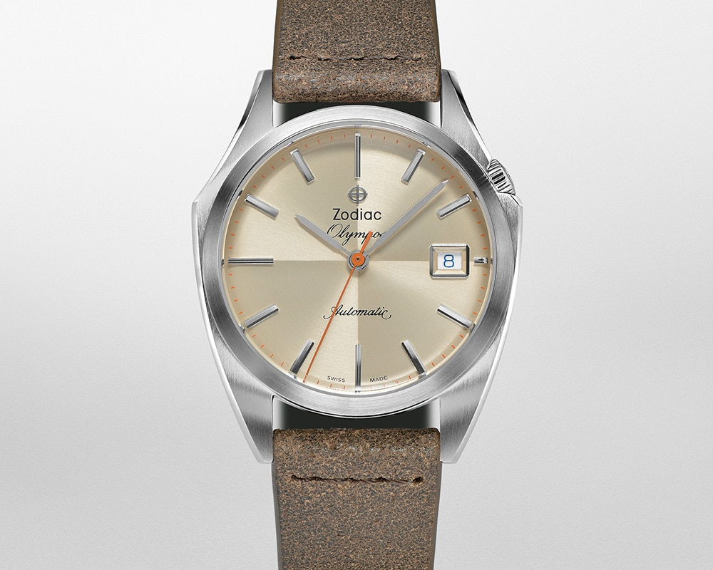 Stainless Steel Cream Quarter Index Dial Olympos
