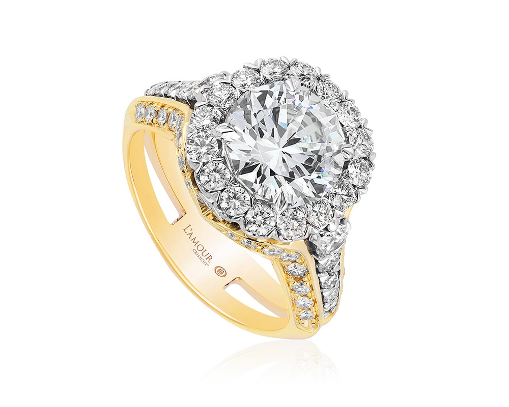 Two-Tone 18 Kt Cushion Halo Diamond Semi-Mounting