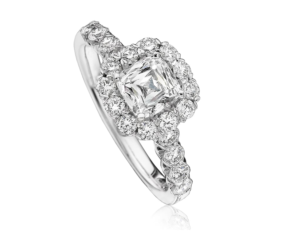 White 18 Kt Halo Engagement Ring Chris Cut