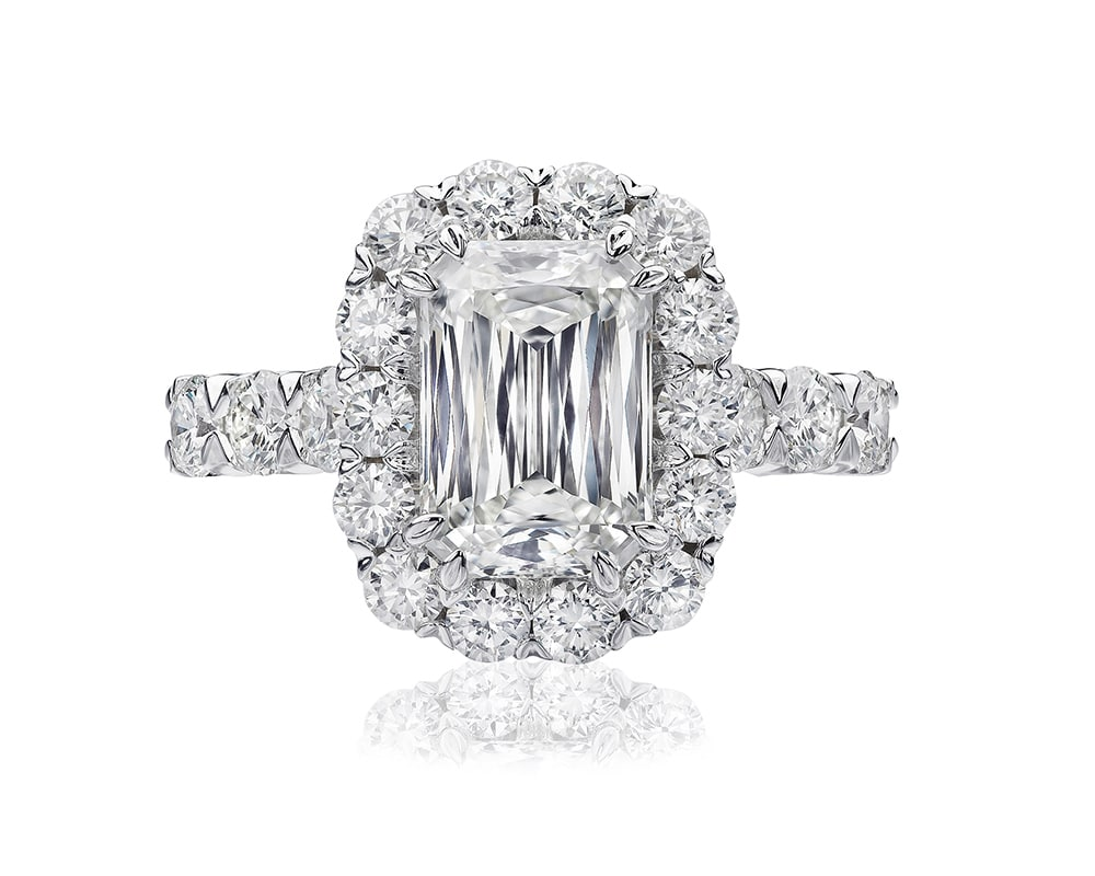 White 18kt Halo Engagement Ring with Emerald Chris Cut Center Stone