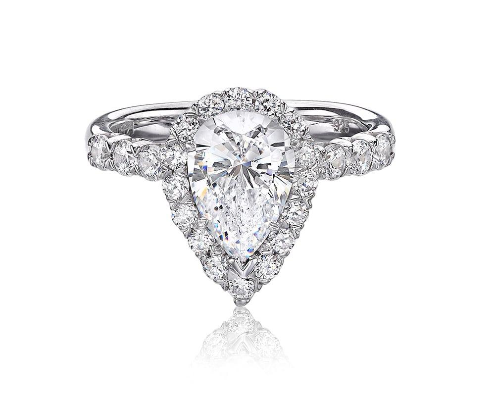 White 18 Kt Pear Halo Diamond Semi-Mounting