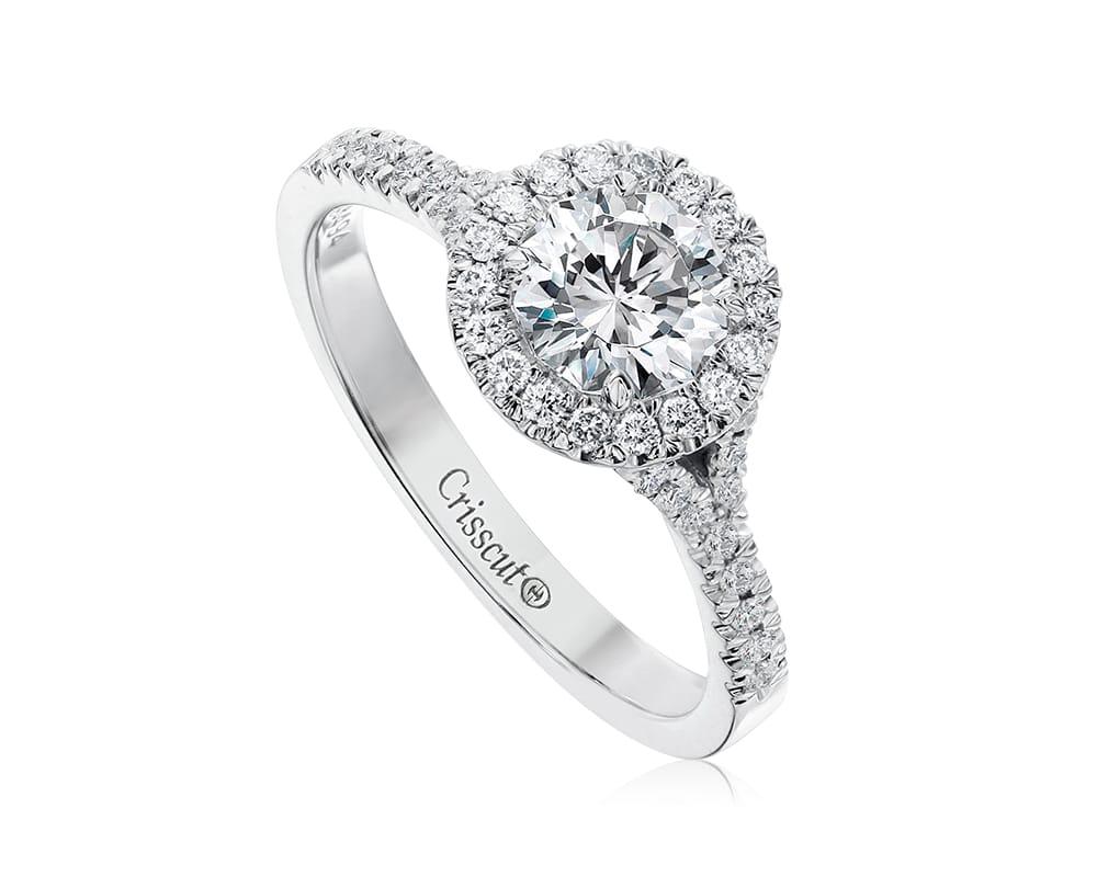 White 18 Kt Round Halo Diamond Semi-Mounting