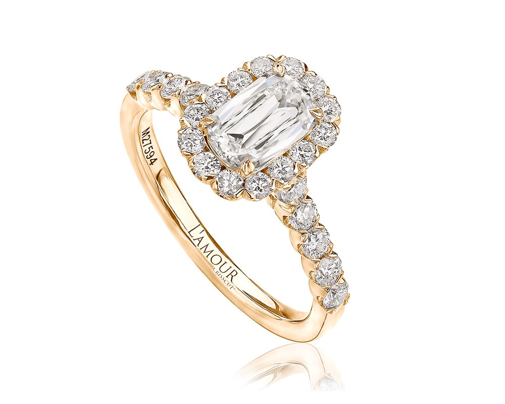 Yellow 18 Kt Halo Engagement Ring L'Amour Cut