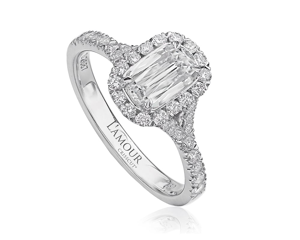 White 18 Kt Halo Engagement Ring with Chris Cut Center Stone