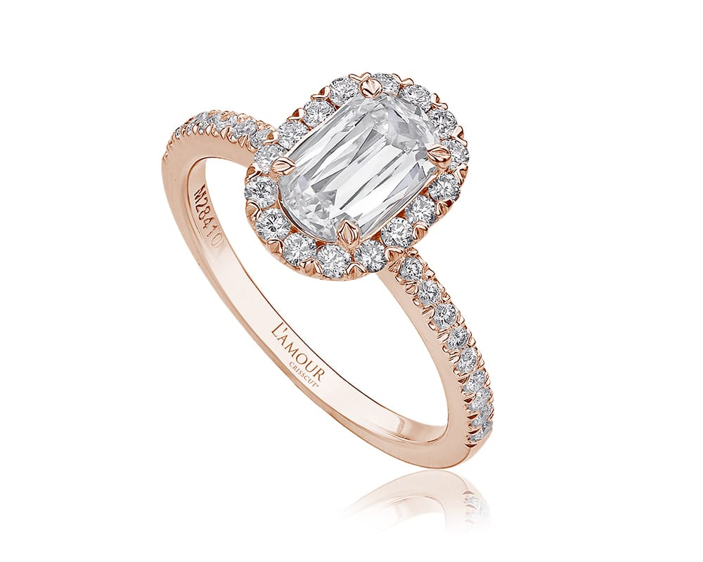 Rose 14 Kt Halo Engagement Ring