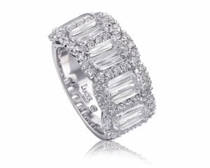 18kt White Gold 5 Stone Halo Diamond Fashion Ring L'amour Crisscut