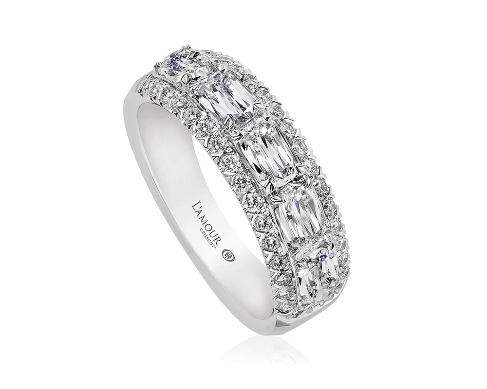 18kt White Gold Diamond Fashion Ring L'amour Crisscut