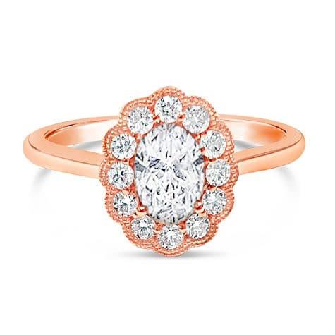 14K Rose Gold Oval Halo Diamond Semi-Mounting