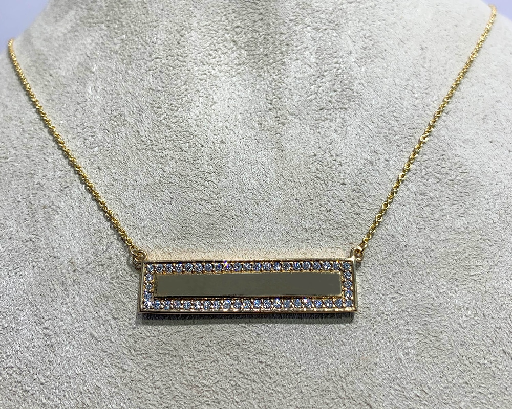 Yellow Gold Bar Necklace with Diamonds