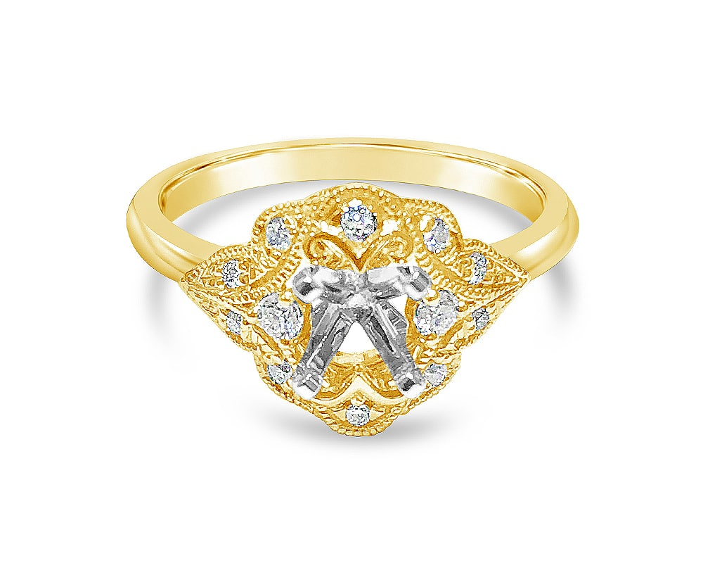 18KT Yellow Gold Antique Diamond Semi Mounting