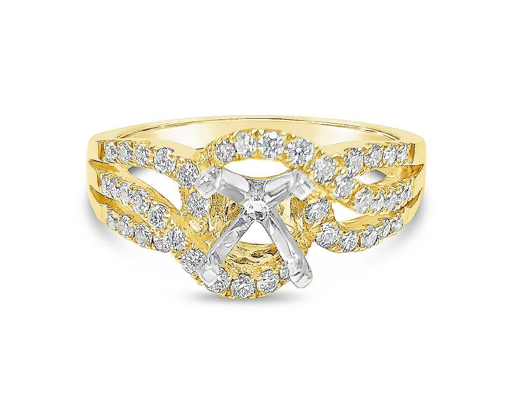 14KT Yellow Gold Diamond Semi Mounting