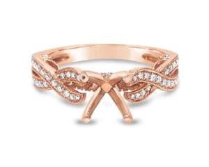 14KT Rose Gold Diamond Semi Mounting