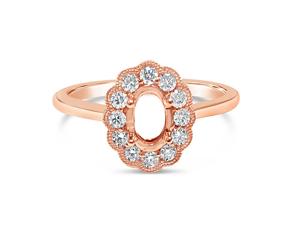 14KT Rose Gold Oval Halo Diamond Semi Mounting