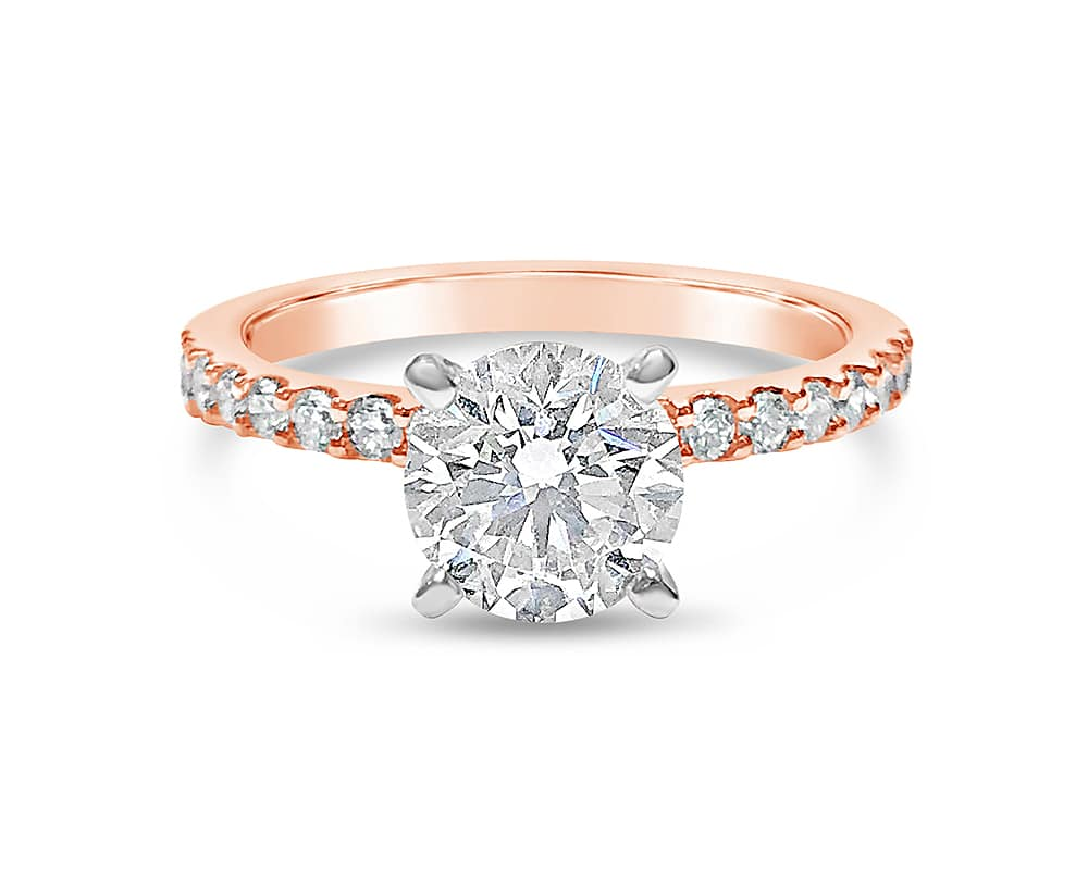 14KT Rose & White Gold Diamond Semi Mounting