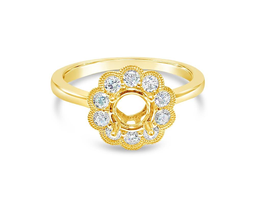 14KT Yellow Gold Miligrain Round Halo Diamond Semi-Mounting
