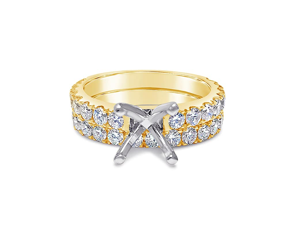 Two-Tone 18KT Diamond Semi-Mounting Wedding Set