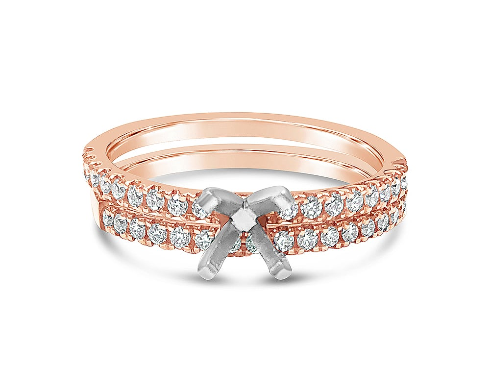 14KT Rose Gold Closed End Diamond Semi-Mounting