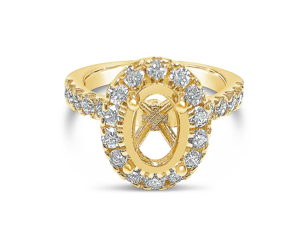 14KT Yellow Gold Oval Halo Diamond Semi Mounting