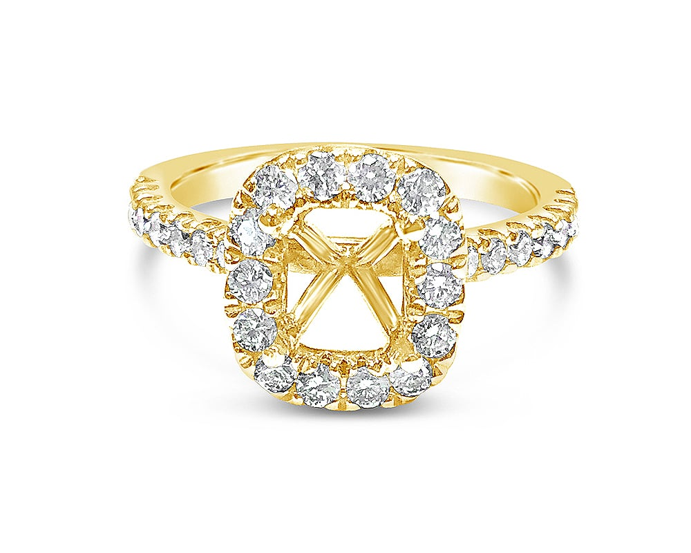 14KT Yellow Gold Cushion Halo Diamond Semi Mounting