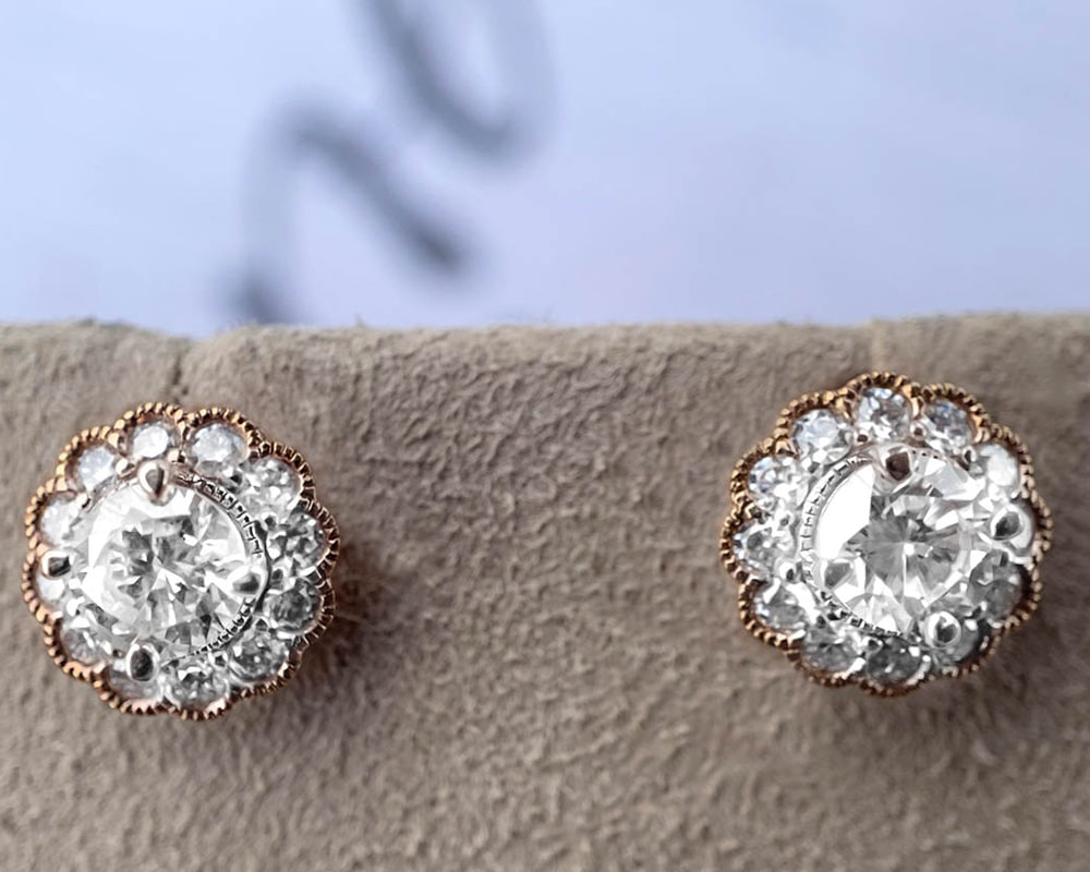 Diamond Fashion Flower Earrings
