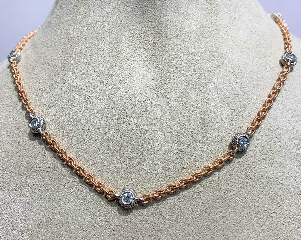 Rose Gold Chain with Diamond Accents
