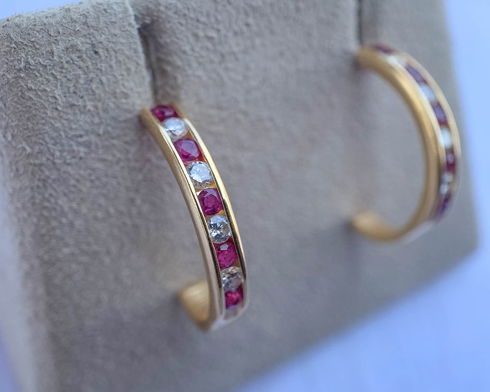 Channel-Set Ruby & Diamond Hoops