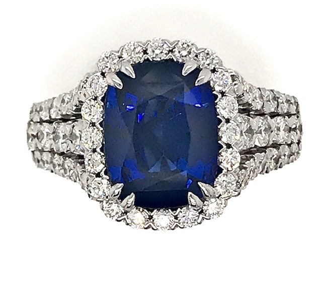 CHRISTOPHER DESIGN SAPPHIRE AND DIAMOND 18K WHITE GOLD