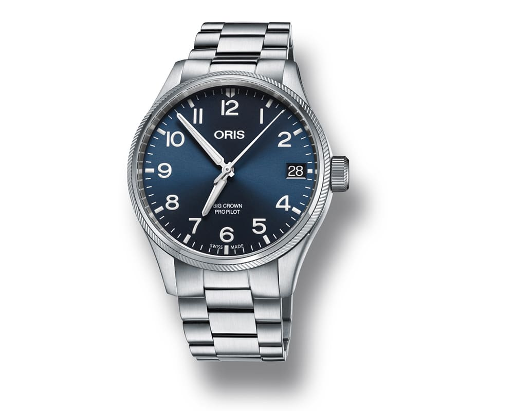 STAINLESS STEEL BLUE DIAL MEN`S PILOT BIG CROWN PRO DATE 01 751 7697 4065-07 8 20 19