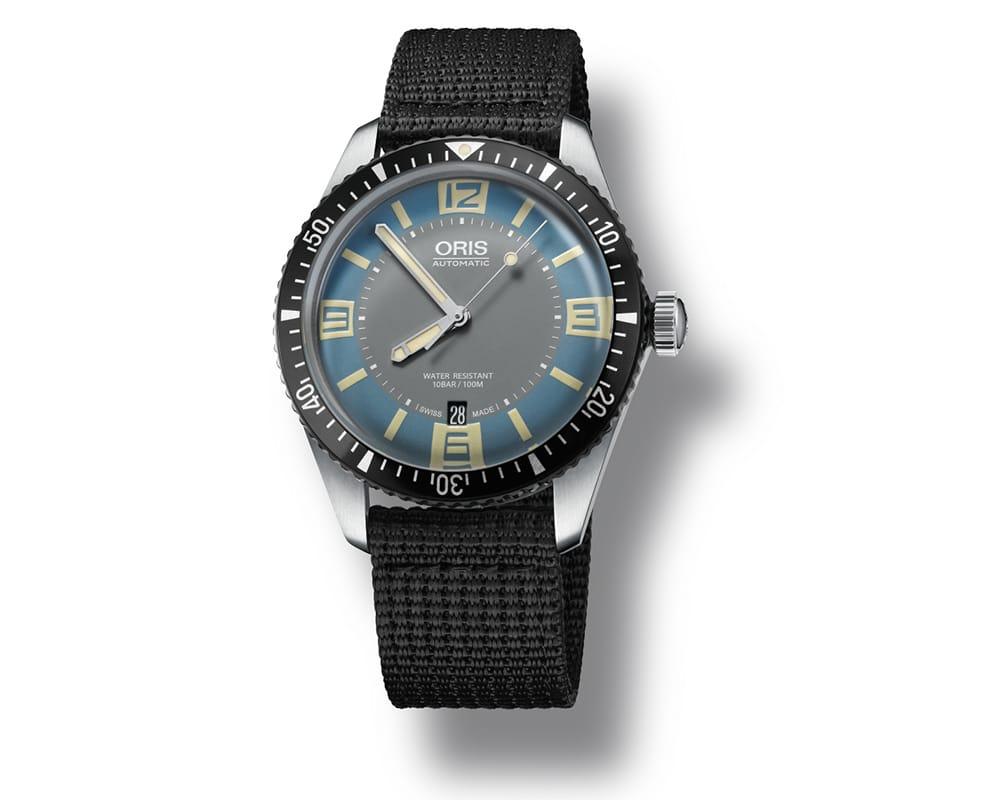 Stainless Steel Light Blue & Gray Index/Arabic Dial Diver 65